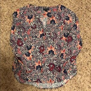 Lucky Brand XS Floral Peasant Top